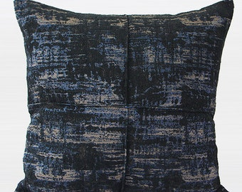 "Luxury Blue Mix Color Metallic Chenille Pillow Cover 22""X22"""