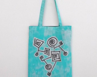 handpainted tote bag 'robotic turquoise'