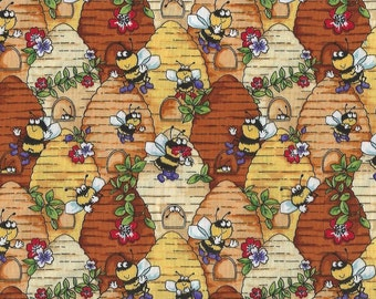 Happy Bumble Bees on Hives,Blank Textile