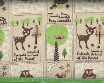 Happy Friends owl,Deer on Tan,Flannel