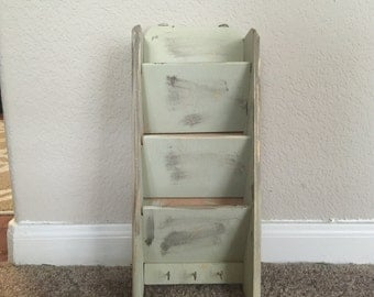 Hand painted and distressed letter organizer and key holder