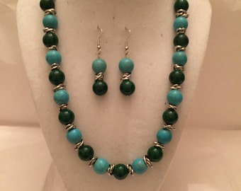 Turquoise 'n Teal Beaded Jewelry Set