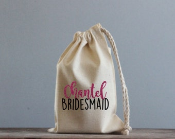 Bridal Party Calico Gift Bag With Name
