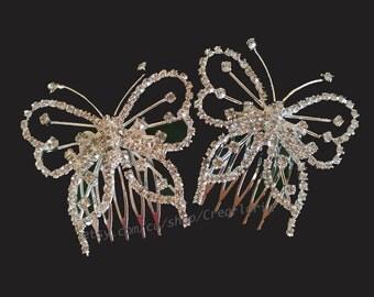 Rhinestone Butterflies Hair Jewelry Comb Set of 2  Jewellery Accessory Wedding Bridal Bridesmaid Engagement Graduation Festivities