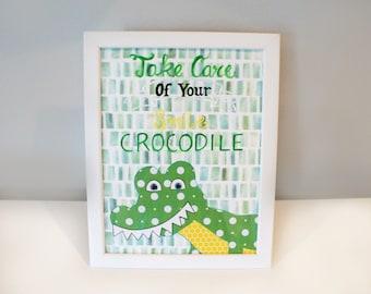 "Crocodile Collage Art // '' Take care of your smile crocodile "" // Dental Office // Bathroom Art // Brushing Art // Smile // Crocodile Art"