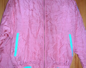 Silk Pink and Blue Shell Suit/Athletic Jacket 80s Studio Ray Limited Release Retro/Vintage Harajuku/Fairy Kei