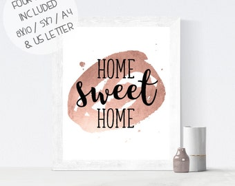 Printable wall art, Home Sweet Home print, rose gold foil print, calligraphy wall print, housewarming gift, instant download, home decor