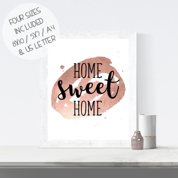 Printable wall art home sweet home print rose gold foil Home sweet home wall decor