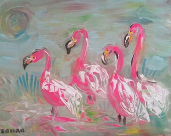 Flamingos - print on canvas 50X70