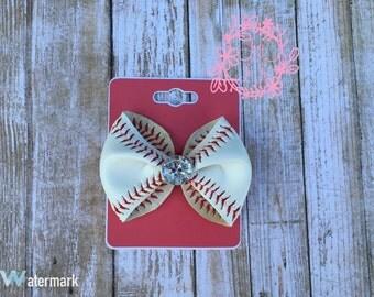Baseball hair bow using real baseball leather