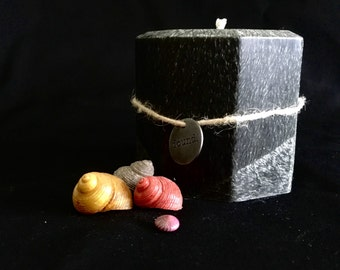 Grey sparkle Palm Wax 3 inch Octogon Pillar