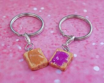 Best friends keychain/ best friend key chain/ kawaii/ mini food/ bff/ best friend peanut butter and jelly/ peanut butter and jelly keychain