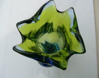 Large Studio Glass Vase Chunky Vintage Glass Vase Blue and Green 1960's Retro