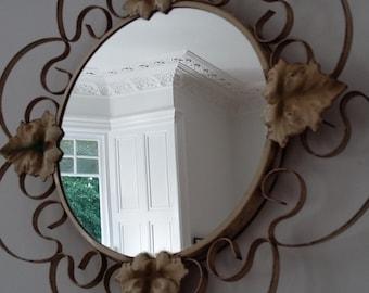 Mid Century Wrought Iron Round Cream Mirror with Ivy Decor Vintage Mirror