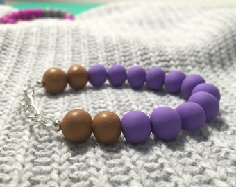 Purple and Gold Bobble Bead Bracelet with silver chain