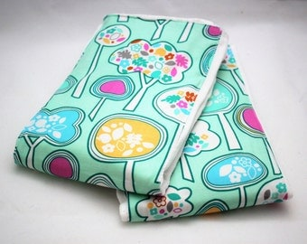 Premium Baby BURP CLOTHS - Set of 2 - Cute Blue Floral Forest TREES Print