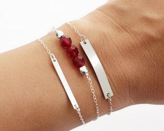 Birthstone Bracelet for Mom, Dainty Birthstone Bracelet, Turquoise Bar Bracelet, Beaded Bar Bracelet, Gold Bar Bracelet, Silver or Gold Fill