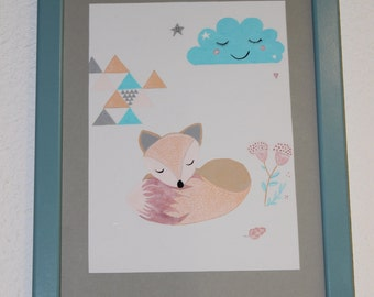 table illustration Fox decorating baby