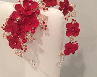 Red Flower and Gold Leaf Headband