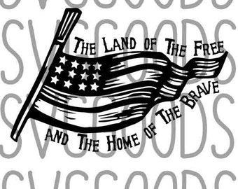 Fourth of July DXF, American Flag, DXF Patriotic DXF - Land of the Free Home of the Brave Patriotic Flag - Great for Vinyl Cricut Silhouette