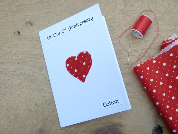 2 Wedding Anniversary Gifts: 2nd Wedding Anniversary Card Cotton Second By