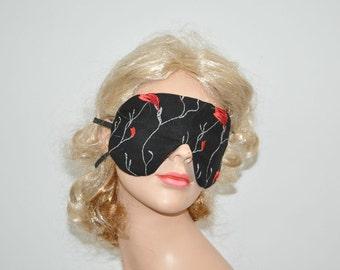 Sleeping Eye Mask, Eye mask, Rest mask, Block out light, Sleep mask, black, red embrodery
