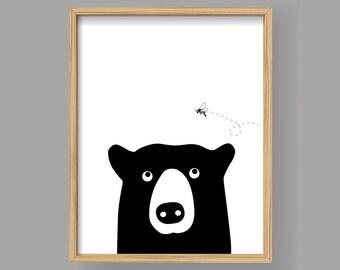 Bear and Bee, PRINTABLE animal art Minimal scandinavian print Baby room wall art Kid nursery decor woodland Gift (#001)