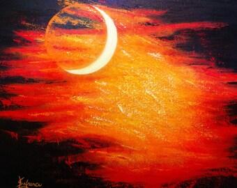 Acrylic paint - explosive Moon