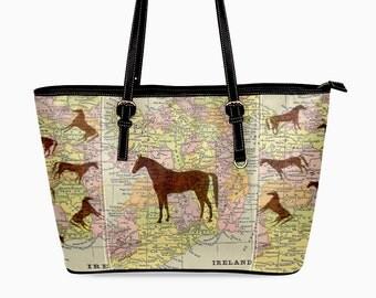 Arabian Horse Purse - Antique Ireland Map Handbag - Horse Tote Bag