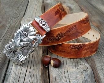 Womens leather belt, Hippie leather belt, Hummingbird / flower buckle leather belt, Gipsy leather belt, Real cow belt