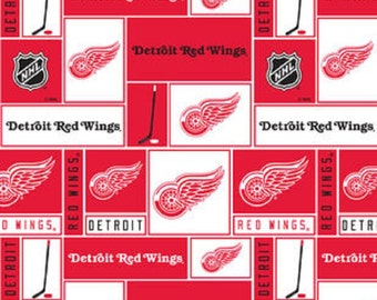 NHL DETROIT RED Wings Patchwork Hockey 100% Fleece fabric material by the 1/2 yard licensed for Crafts, Quilts, clothing and Home Decor