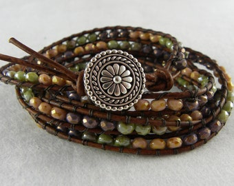 Beaded 5x Wrap Bracelet with Button Closure