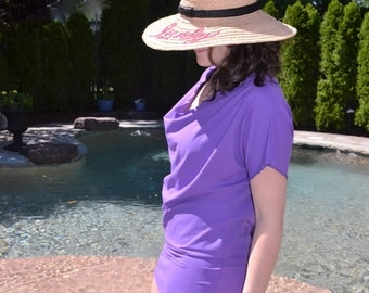 Purple swimsuit cover up. Swim dress can be worn in and out of the water.