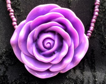 Purple Seed Bead Rose Necklace