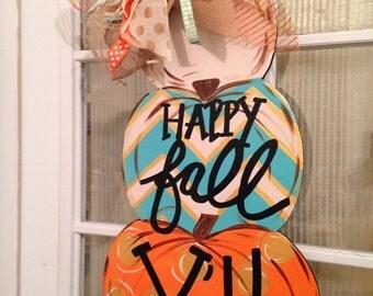 Happy Fall Yall Stacked Pumpkins Door Hanger