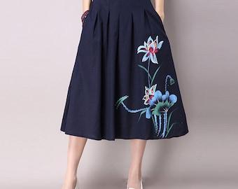 Blue Maxi Linen Embroidery Woman Skirt - Linen Skirt - Spring Skirt