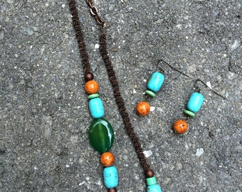 Necklace?earring set, turquoise/amber/greens