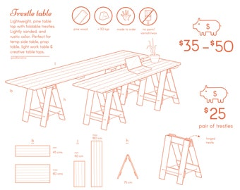 Craft trestle table