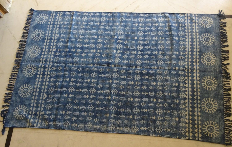 Designer Rug 4x6 Cotton Rug Cotton Durry Indigo Blue Rug