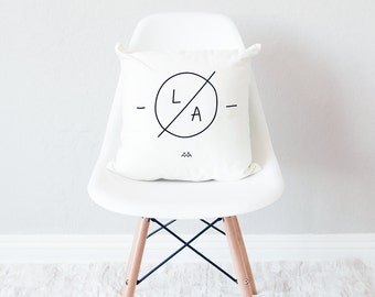 White throw pillow with insert / minimal home decor / Los Angeles design cushion /