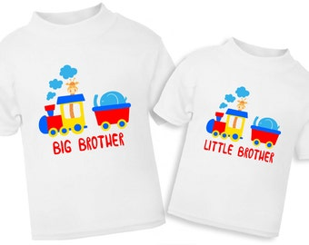 Big brother Little brother sibling shirts, transportation sibling shirts, train brother shirts, new baby boy, brother to be shirts