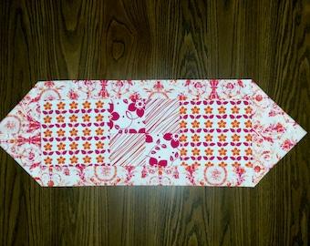 Summer Runner, Floral Runner, Art Deco Runner, Pink Orange Runner, Table topper Floral,  Summer Table Topper, Washable Table Runner, Linen