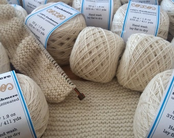 100% Cashmere Yarn - Natural Undyed Cashmere - Lace Weight - Cashmere Knitting Yarn