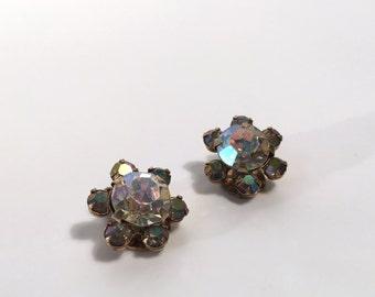 Small Rhinestone Flower Clip-ons