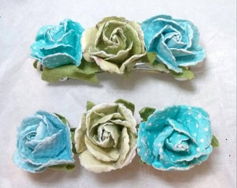 Roses, Hair Accessories, Paper Roses, Flower Barrettes