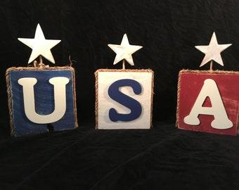 July 4th Patriotic USA Blocks