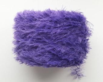 Purple yarn, eyelash yarn, fluffy yarn, plushy yarn, crochet yarn, knitting yarn, yarn lot, cheap yarn, DK yarn, light yarn, light worsted