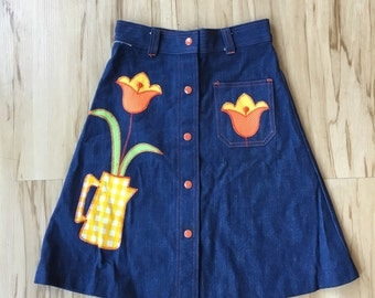 1970's denim applique skirt