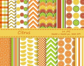 Citrus digital paper pack - 14 printable jpeg papers, 3600x3600 px, 300 dpi - Printable background - Orange, Lemon and Lime