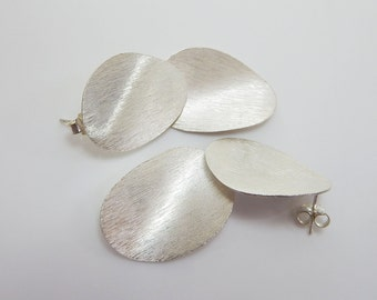 Karen Hill Tribe Silver Double Waved Disc Earrings,Dangle Earrings,Sterling Silver Earrings,Silver Earrings